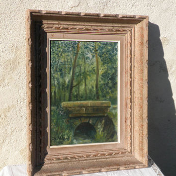 original french oil painting 1952,  1952 vintage original oil painting dated and signed, original vintage art, original antique art