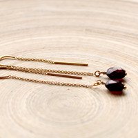 Garnet gold earrings, Long U top earrings with gemstone, Long garnet earrings, January birthstone earrings,Thread earrings with Garnet,gift