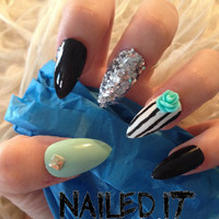 NAILED IT! - Hand painted false nails - 3D black & turquoise - rose, silver glitter, gold studs!