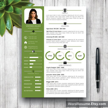 clean resume template with photo cover from wordresume on etsy