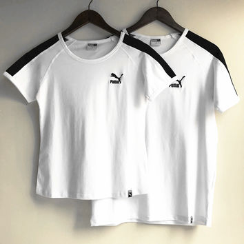 PUMA  white black sleeve shirt top H-RELAX-XS