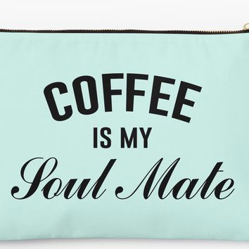 Coffee Is My Soul Mate Makeup Bag Pouch Wristlet