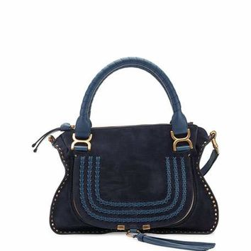 Chloe Marcie Medium Suede Satchel Bag, Navy