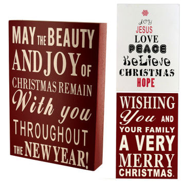 Wood Block Christmas Sign: Case of 6