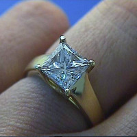 1.52ct G-VS2 Princess Cut Diamond Engagement Ring 18kt yellow Gold  GIA certified JEWELFORME BLUE