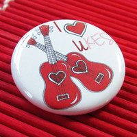 Ukulele uke love music pinback button 125 by theartfulbadger