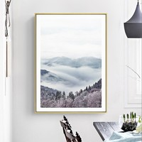 Mountain Posters And Prints Wall Art Canvas Painting Forest Wall Pictures For Living Room Nordic Scenery Picture Decoration