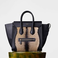 Mini Luggage Handbag in Goat Fur