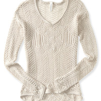 Pointelle Open-Stitch Hi-Lo Sweater