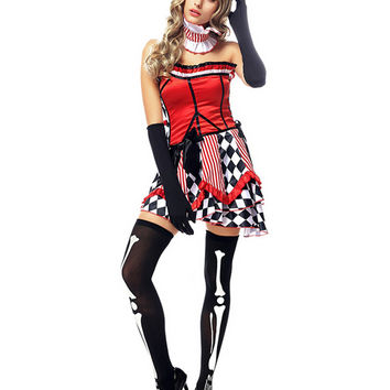 New Woman's Halloween Costumes Circus Cosplay Disfraces Circus Woman Clown Costumes Actress H1631015