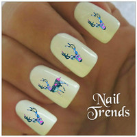 Deer Nail Decal. 20 Vinyl Stickers Nail Art