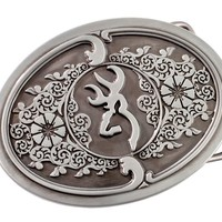 Browning Embossed Metal Buckmark Logo Belt Buckle - Sheplers