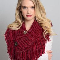 Button Accent Knit Tassel Shawl Scarf