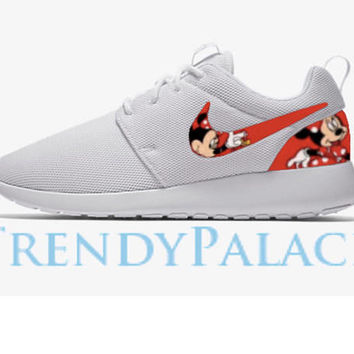 24cc8784a3a3 Minnie Mouse Custom Nike Roshe Men Women Youth Sizes Minnie Mous