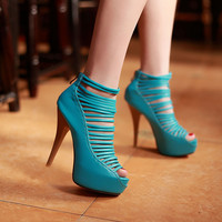 Fashion fish mouth waterproof heels sandals