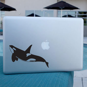 Orca Whale Decal - Vinyl Sticker-  For Laptop, Car, Window