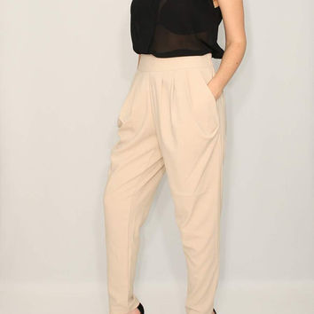 Women Pants Beige Harem pants Career Pants Office Fashion