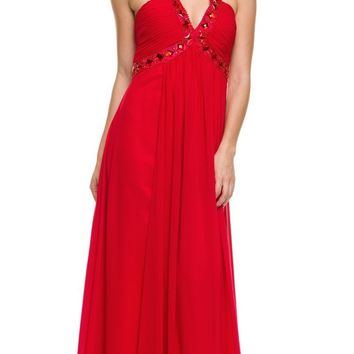 Red Empire Silhouette Formal Dress Jeweled V Neck Ruched Bodice