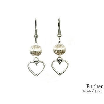 Gifts For Women - Silver Plated Heart Pendent And Bead Earrings - One of a Kind Design