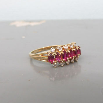 Vintage Ruby Ring Diamond Cluster Ring 14k Yellow Gold Ring Estate Ring July Birthstone Ring Gemstone Ring Size 8