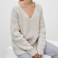Ribbed Knit V-neck Solid Loose Short Pullover Sweater