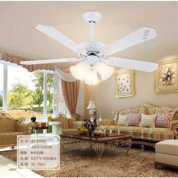 Minimalist living room bedroom dining room ceiling chandelier fan lights continental retro white chandelier fan With LED lights