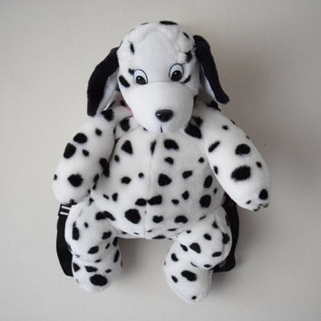 90s Dalmatian Stuffed Animal Backpack // Plushie Bag Purse // Raver Club Kid Cyber Kawaii Style // EDC EDM Festival Fashion