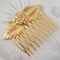 Gold Hair Comb With Pearls - Bridal Hair Accessories - Wedding Hair Jewelry - Wedding Head Piece - Leaf Hair Comb - Leaves Hair Comb