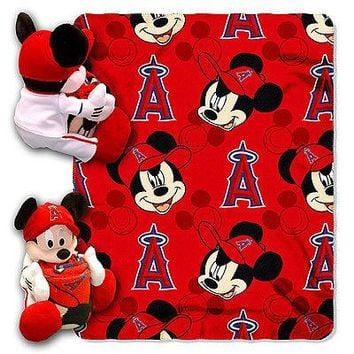 "LOS ANGELES ANGELS 40""X50"" DISNEY MICKEY MOUSE HUGGER PILLOW & THROW BLANKET SET"