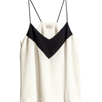 H&M - Crêpe Top - White/black - Ladies
