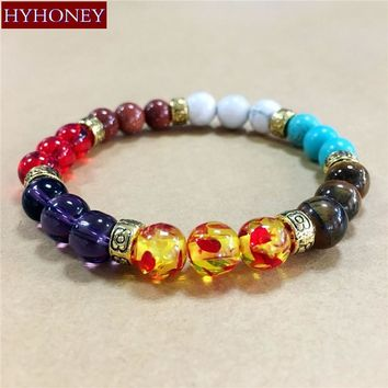 Natural Stone Beads 7 Chakra Healing Balance Bracelet Yoga Reiki Prayer