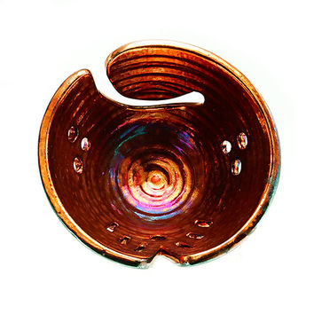 Copper Ivy Ceramic Yarn Bowl Raku Pottery YB13196