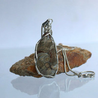Silver wire wrapped Mushroom Rhyolite natural gemstone free form pendant with necklace