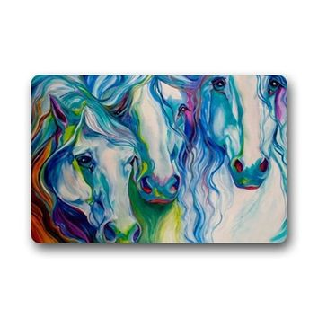 Autumn Fall welcome door mat doormat Abstract Watercolor Horse Art Non-Woven Fabric  Indoor/Outdoor/Bathroom  Rugs For Home/Office/Bedroom AT_76_7