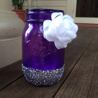 Translucent Purple Mason Jar with Silver Glitter and White Felt Flower