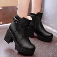 Stitching PU Leather Platform Chunky Heel Boots - Black