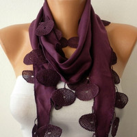 Purple Scarf  -  Pashmina Scarf  - Headband Necklace Cowl with Lace Edge