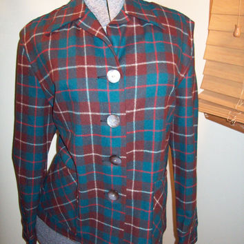 Vintage 50s Field And Stream Green and Brown Plaid Womens Wool Flannel Shirt / Rockabilly 49er Style / Size 18 / Near Mint Condition