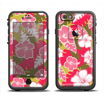 The Pink & Green Hawaiian Floral Pattern V4 Skin Set for the Apple iPhone 6 LifeProof Fre Case