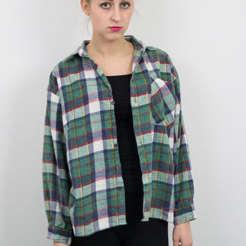 Vintage Green Navy Red Plaid Flannel Shirt