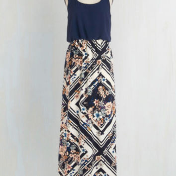Boho Long Tank top (2 thick straps) Maxi Poetry Glam Dress in Navy by ModCloth