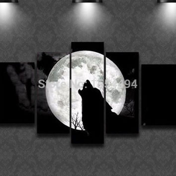 Free shipping hand painted modern big moon cool wolf howl animal oil painting on canvas picture 5 pieces wall art home decor F1