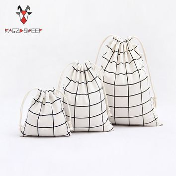 Raged Sheep Fashion Drawstring Cotton Grocery Shopping Bags Folding Lattice Shopping Cart Eco Grab Reusable Bag Feeding Bottle