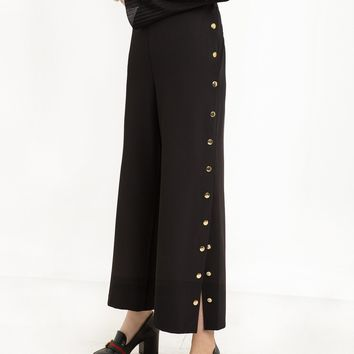 SYDNEY BLACK SNAP BUTTON SIDE PANTS