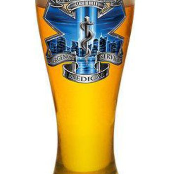 """EMS- """"YOU WILL NEVER BE FORGOTTEN"""" WITH SNAKE-  LARGE PILSNER BEER GLASS"""