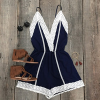Cupshe Young Hearts Lace Open Back Romper