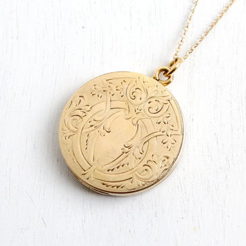 Antique Edwardian Floral Etched Locket Necklace- 1/4 Gold Shell Early 1900s Pat'd 1904 Back Monogrammed W&H Co. Jewelry