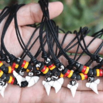 Shark Tooth Necklace with Rasta Beads