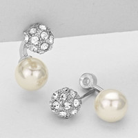Double Sided Pearl Earrings Silver