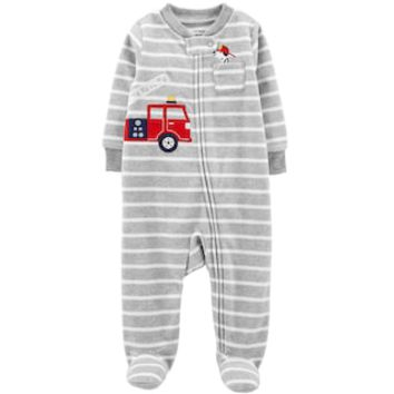 Baby Boy Carter's Firetruck, Dog & Striped Microfleece Sleep & Play | null